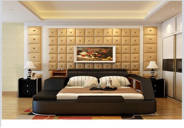 Genuine Leather Bed Frame w/ Storage  2