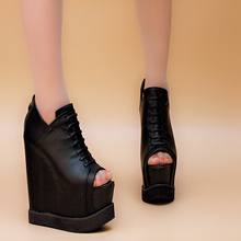 Ultra high heels single shoes open toe wedges sandals lace women s platform wedges shoes fashion