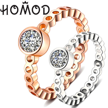 HOMOD 2019 Fashion High Quality AAA Cubic Zirconia Rose Gold Round Brand Ring Engagement Wedding Rings For Women Gift Rings trendy rose gold rings for women rings cubic zirconia brand designers female stainless steel wedding bands ring