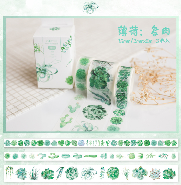 3 Pcs/pack Succulent Plants Decorative Adhesive Tape  Masking Washi Tape DIY Scrapbooking Sticker Label Japanese Stationery