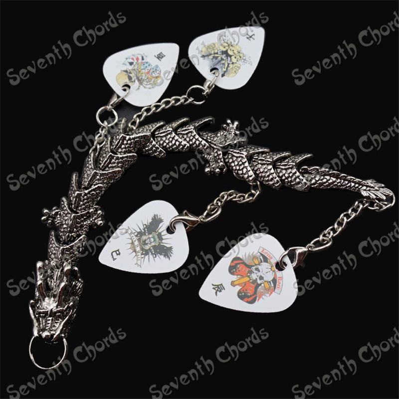 Personalized Design China dragon Guitar Picks Plectrums Metal Bracelet hand chain guitar accessories parts