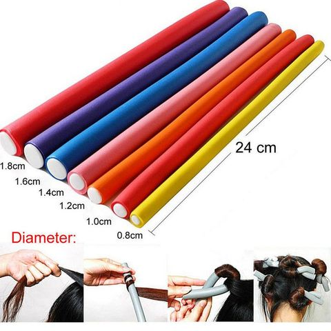 10pcs Soft Foam Sponge DIY Styling Hair Rollers Flexible Curler Bendy Curls Tool Random Color Lahore