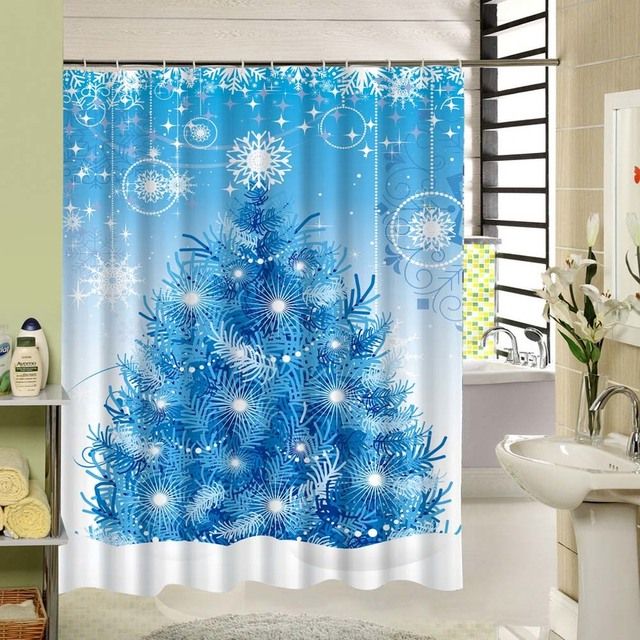 CHARMHOME Waterproof Blue Shower Curtain Christmas Tree & Snowflakes ...