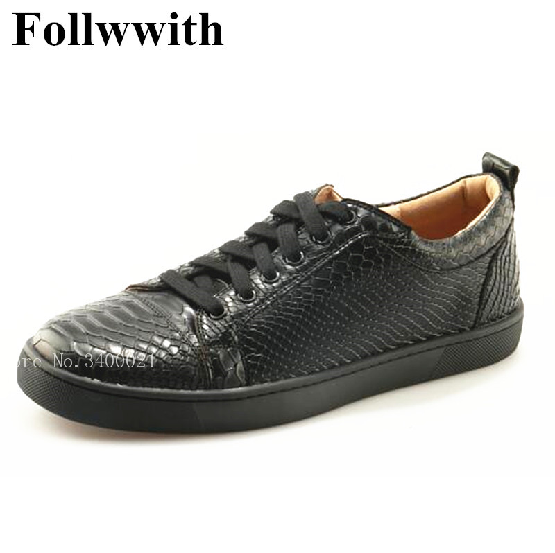 2018 New Top Quality Brand Design Alligator Leather Low Top Flats Lace Up Men Casual Shoes Zapatillas Mujer Sexy Shoes Me black sexy lace up design top