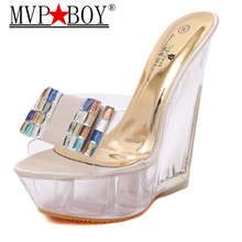 MVP BOY Summer Women Shoes Special Crystal Wedges with Flower Female Waterproof Anti-skid Slippers Thick Sexy High-heeled 15CM цена