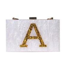 2016 nouvelle or lettres marque de soirée de mode sac magnétique blanc acrylique Épaule Sac mignon Sac À Main parti croix imprimer casual embrayage