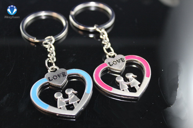 d70bed0b0d 1Pair Couple Keychain Love boy/girl Key Ring Silver Plated Lovers Love Key  Chain Souvenirs