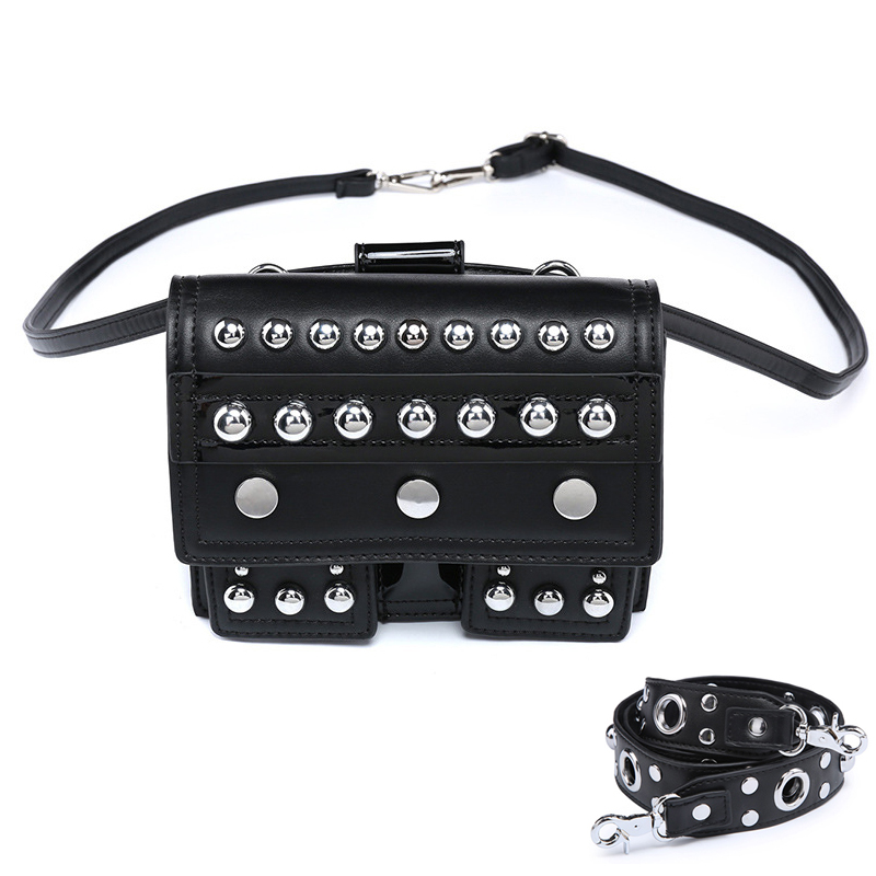Steampunk Gothic Rivet Women Shoulder Bag Ladies Small PU Leather Waist Bags Solid Black Color Crossbody Gotica Messenger Bags fashion new steampunk rivet shoulder bag crossbody motorcycle messenger bags gothic black pu leather women clutch handbag