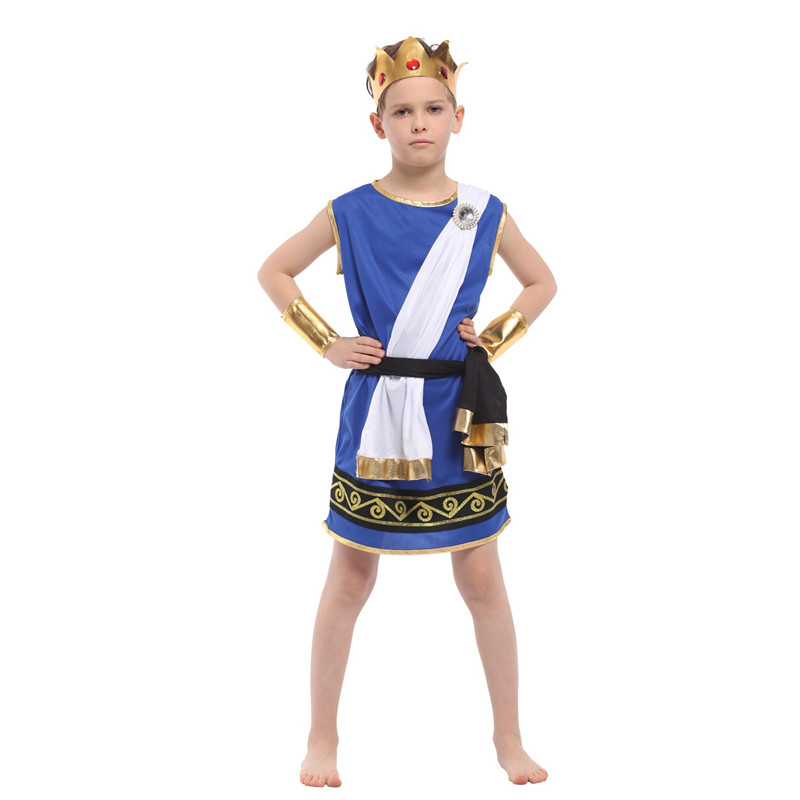 M XL Boys Anime Zeus Cosplay Kids Egyptian Pharaoh Costume ...