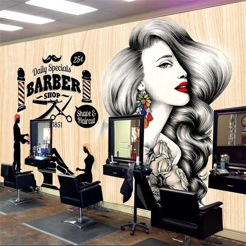 Beibehang Beauty Salon Hair Salon Background Wall Barber Shop Backdrop Custom Large Fresco Wallpaper Papel De Parede