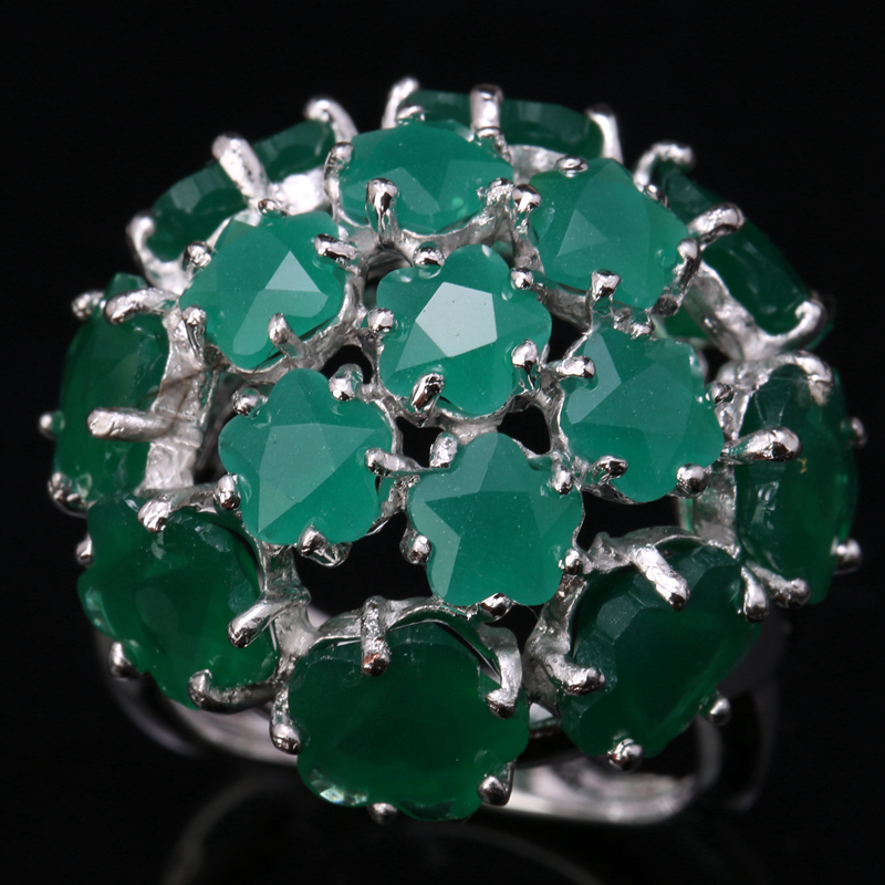 Brilliant Hydrangea Flowers Gems Green Cubic zirconia 925 Sterling Silver Jewelrys For Womens Rings US# Size 6 7 8 9 S1441