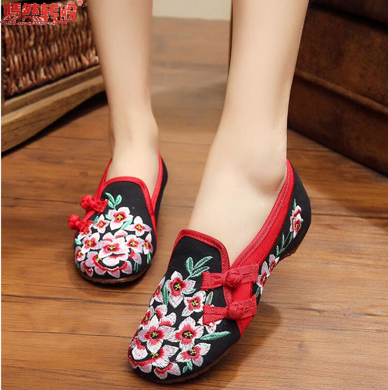 Old Beijing Embroidered Women Shoes Mary Jane Flat Heel Cloth Chinese Style Casual Loafers Plus Size Shoes Woman Flower Black