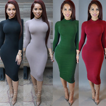 Dress Women Tight Turtleneck Vestidos Long-Sleeve Solid Pencil Hip-Package Stretch Lady