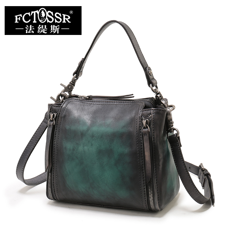 Women's Handbags Small Leather Zipper Shoulder Bags Handmade Vintage Genuine Leather Casual Bags vintage casual handmade 100