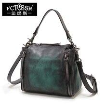 Frauen Handtaschen Kleine Leder Reißverschluss Umhängetaschen Handarbeit Vintage Echtem Leder Casual Taschen