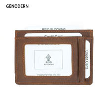 GENODERN Genuine Leather Magnetic Front Pocket Money Clip Wallet RFID Blocking Strong Magnet Thin Wallet(China)