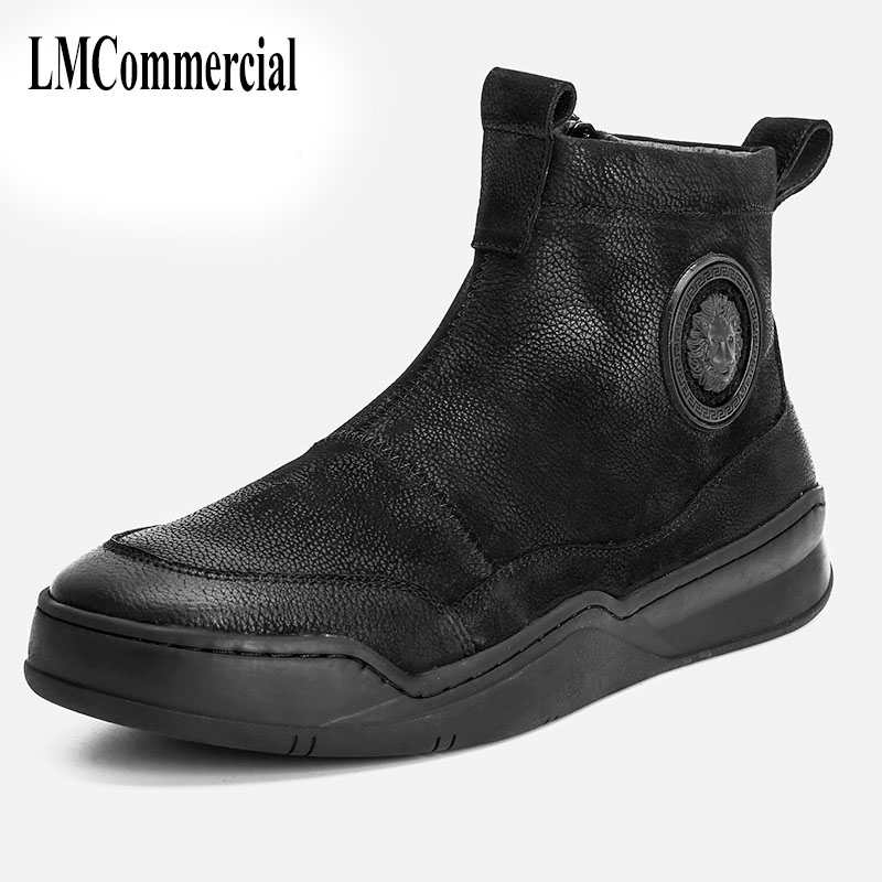 new autumn winter British retro men shoes cowhide cashmere casual boots Mens leather shoes breathable thermal  boots men 2017 new autumn winter british retro men shoes zipper leather shoes breathable fashion boots men casual shoes handmade f