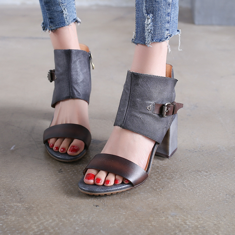 Tyawkiho Genuine Leather Women Sandals 7 CM High Heels Gray Summer Shoes Fashion 2018 Rome Style Sandals Handmade Leather Shoes tyawkiho genuine leather women sandals low heel white casual leather summer shoes 2018 handmade women leather sandal soft bottom