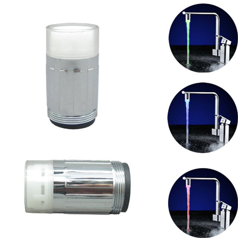 350 pcs Durable LED faucet tap Temperature Sensor LED faucet light+adapter no need power Aerator drop shipping wholesale
