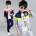 Crianças Meninos conjunto de roupas de outono Meninos adolescentes esporte terno escola carta ocasional roupa dos miúdos treino 2 pcs 4 ~ 13 T meninos roupas