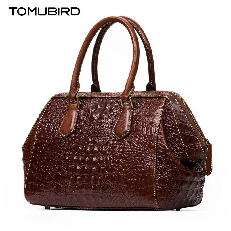 TOMUBIRD new Superior cowhide leather Embossed Crocodile famous brand women bag fashion genuine leather handbags Tote tomubird new superior cowhide leather designer rose embossed famous brand women bag fashion tote women genuine leather bag