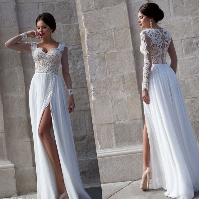Simple 2018 Sexy Beach Custom Long Sleeve Vintage Chiffon Split Side A Line Bridal Gowns Lace Mother Of The Bride Dresses