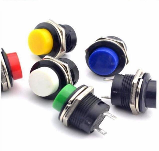 цена на 5 pcs R13-507 Momentary SPST NO Red Round Cap Push Button Switch AC 6A/125V 3A/250V 6color