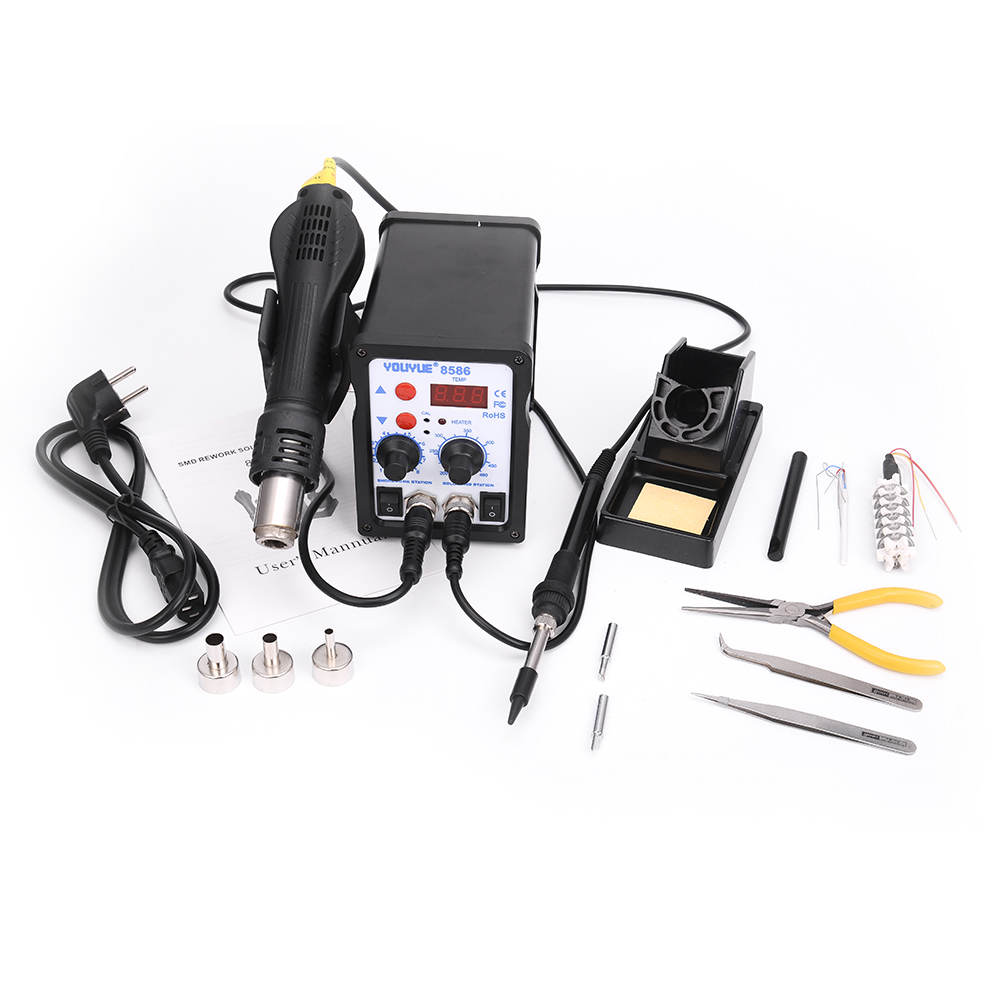 YOUYUE 8586 2 In 1 ESD Hot Air Gun Soldering Station Welding Solder Iron For IC SMD Desoldering +Heating core+tweezers+ pliers