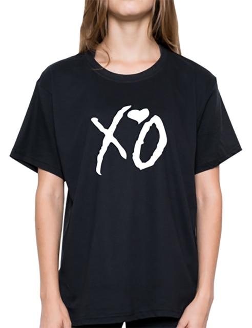 0b95a1f80d US $9.11 8% OFF|T Shirt Plus Size Tops Korean Tumblr Tops Tshirt Women XO  Graphic T Shirts Funny Shirts Streetwear XS XXL T shirt Black Red-in ...