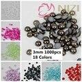 Medias Perlas $0.99 1000 unids 3mm Muchos Colores Para Elegir Granos Redondos de la Resina de la Parte Posterior Plana Granos Del Arte Del Clavo decorar Diy Diamante