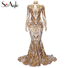 SoAyle Long Prom Dresses 2019 Sparkly High Neck Mermaid