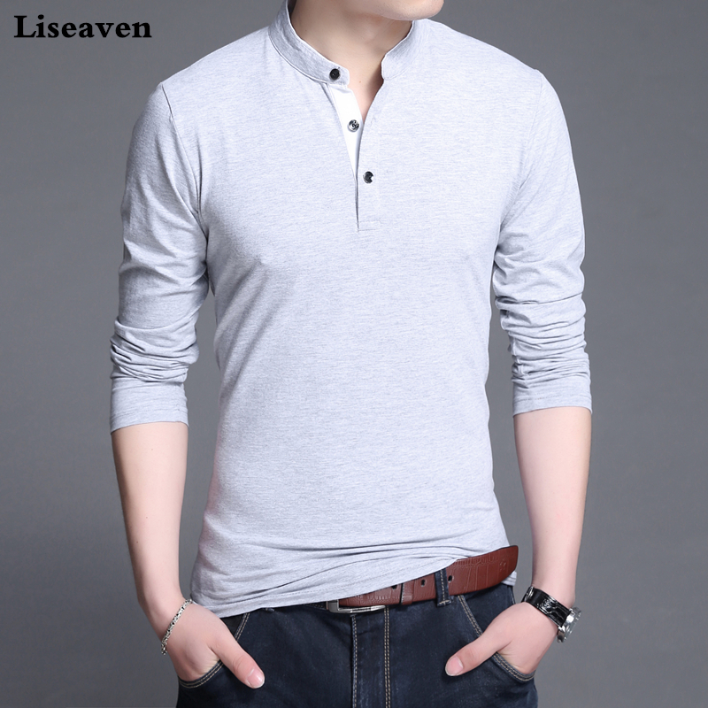 Liseaven Men Basic   T  -  Shirts   Solid Color Top Male Long Sleeve Tshirt Slim Fit Casual Stand Collar   T     Shirt   Men's Tops & Tees