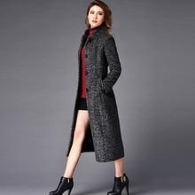 2016 Winter Fashion Cashmere Trench Coat Women X-Long Design Stand Collar Slim Woolen Outerwear Plus Size S-4XL
