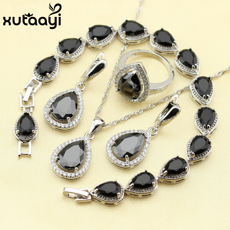 925 Silver Water Drop Wedding Jewelry Set For Women Black Cubic Zirconia White CZ Bracelet Earrings Necklace Pendant Ring