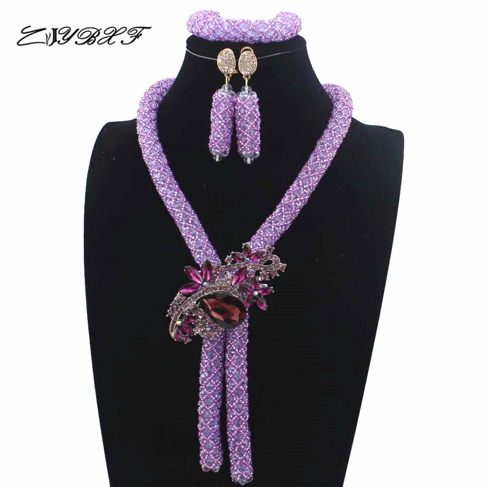 Fashionable African Beads Jewelry Set Lilac Purple Costume Nigerian Wedding African Bridal Jewelry Set Free Shipping L1031