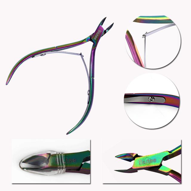 Biutee 1PC Biutee Nail Cuticle Nipper Rainbow Clipper Scissor Dead Skin Remover Manicure Nail Art Tool