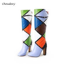 Choudory Knee-High Women Boots Spring Autumn Basic Rivet Square Toe Chunky Super High Women Shoes Slip-On Plaid Zapatos Mujer