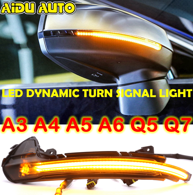 LED Flowing Rear View Dynamic Sequential MIRROR Turn Water Signal Light For Audi A3 A4 B8