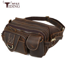waist pack cow leather man 2017 new european fashion men brown brand casual vintage travel waist bags genuine leather male bags