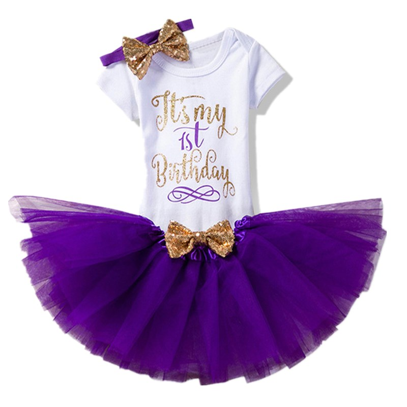 Baby 1st Birthday Party Newborn Little Girls Summer Shirt +Dress Tutu (Tops+Headband+Dress) 3pcs Costume Toddler <font><b>6</b></font> <font><b>12</b></font> <font><b>24</b></font> Months image