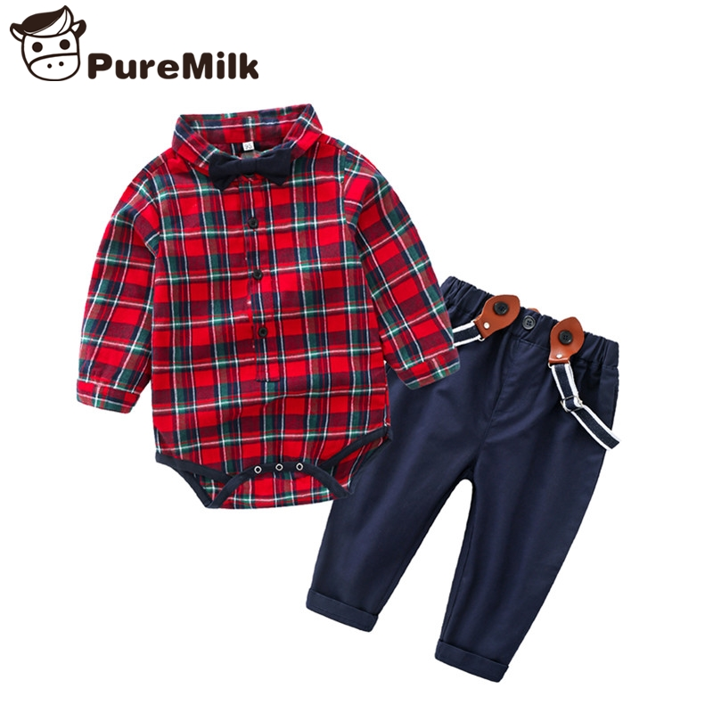 Baby Clothes Plaid Newborn Clothes 2pcs/set Kids Clothes Jumpsuit With Bow And Pants With Overalls Bebe Clothes