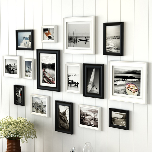 15 pieces/set Europe Wood Photo Frames Set Family Wall Decal Set ...