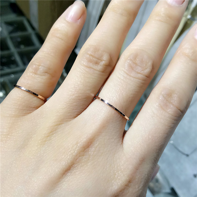 YUN RUO Fashion Brand Rose Gold Silver Color Super Thin Ring for Woman Man Lady Wedding 316 L Stainless Steel Jewelry Never Fade