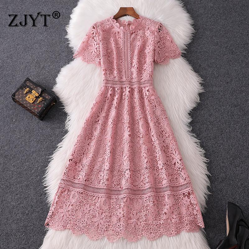 New Fashion Designer Runway Dress Women 2019 Summer Style Elegant Short Sleeve Hollow Out Flower Sweet