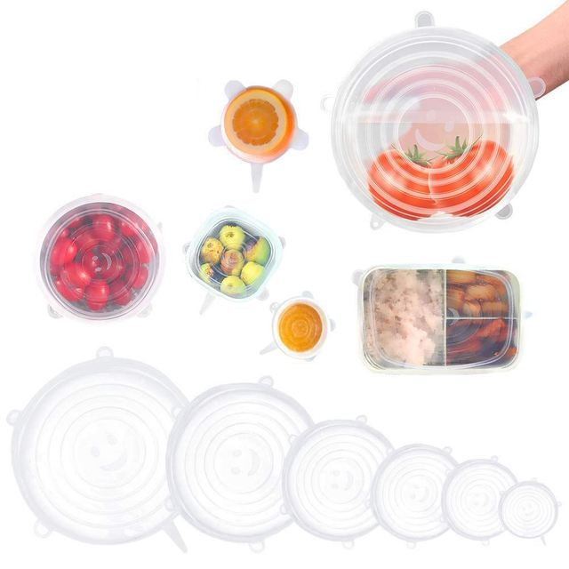 Silicone Stretch Lids, 12 Pack to Keeping Food Fresh, Reusable, Durable and Expandable to Fit Various Sizes for Bowl Covers, P