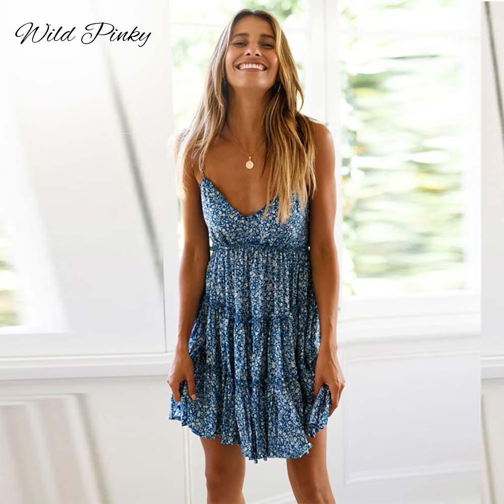 WildPinky Elegant Print Short Mini Dress Women 2019 Summer Sexy Strap V Neck Backless Dress Holiday A-Line Ruffle Dress Vestidos