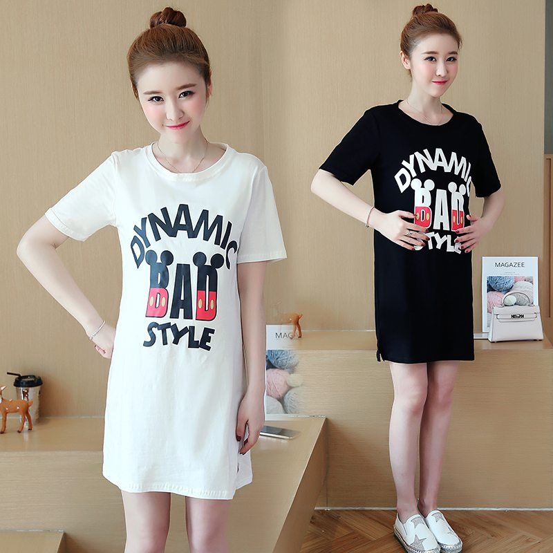 2018 maternity clothes T-shirt new pregnant women in the long section of pure cotton blouse pregnant women dress