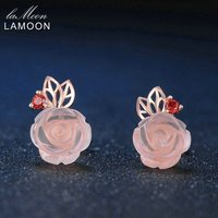 LAMOON Rose Flower Natural Gemstone Rose Quartz Stud Earrings 925 Sterling Silver Rose Gold Fine Jewelry