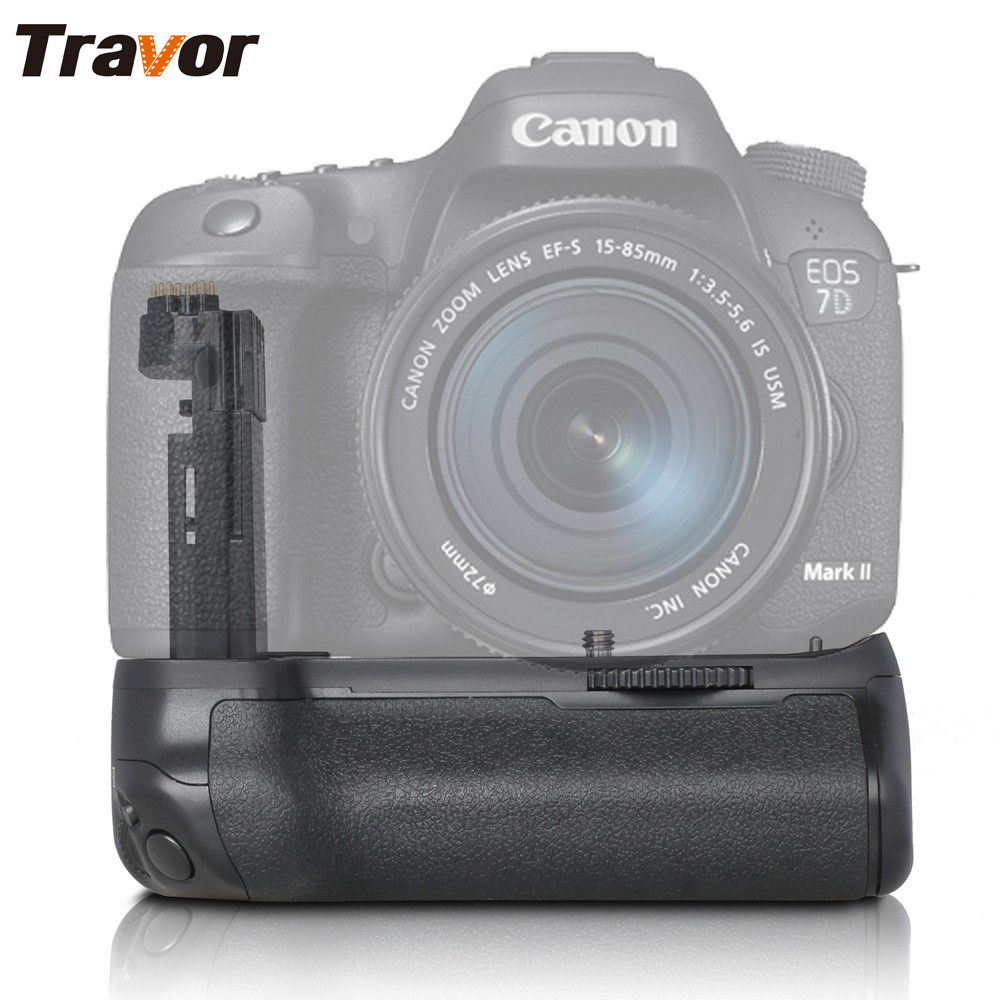Travor BG-1U Vertical Multi-Power Battery Grip Pack Holder for Canon 7D Mark II DSLR Camera as BG-E16 Camera Replacement