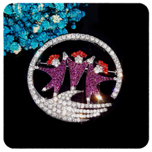 GRANDBLING New Arrival Blingbling Crystal Circle of friends Brooch Pin Jewelry Unique Friendship Gift to Your Friends